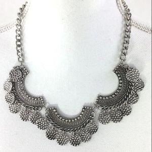 Silver Boho Style Statement Necklace 3 Half Rounds